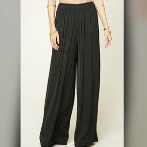 Forever21 black silk high waist long Pants